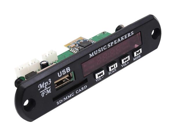 OEM modul MP3 s FM rádiem a bluetooth, typ červený, numerický displej