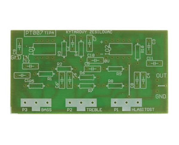Plošný spoj TIPA PT007 Kytarový a mikrofonní korekční předzesilovač