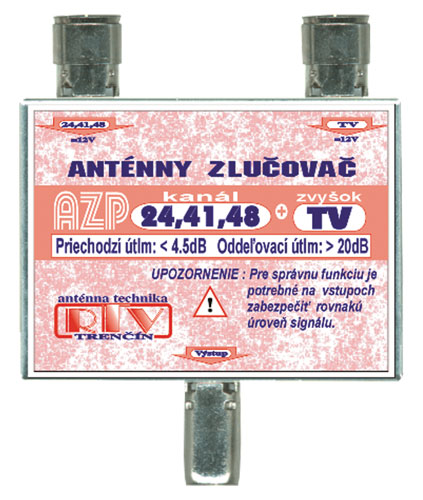 Anténní slučovač AZP24,41,48+TV  IEC