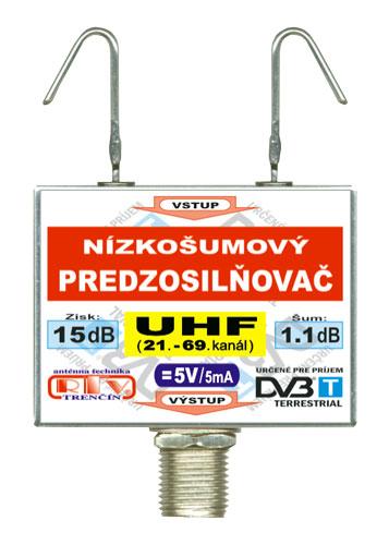 Anténní zesilovač DVB-T UHF 5V 15dB  F