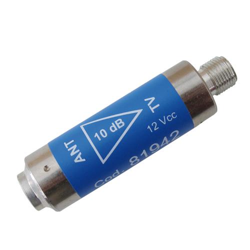 Anténní předzesilovač Emme Esse 81942L, +12dB, UHF, filtr LTE, Fm-Ff, váleček,12V/22mA