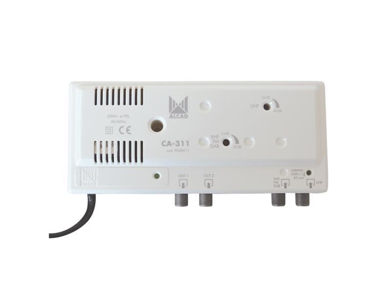Anténní zesilovač ALCAD CA311, VHF+UHF, malý domovní i do interiéru