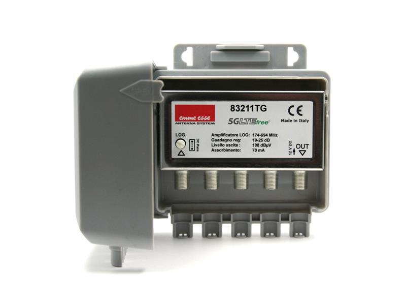 Anténní předzesilovač Emme Esse 83211TG, na stožár, 5G, 1xlog(DAB+UHF), +25dB