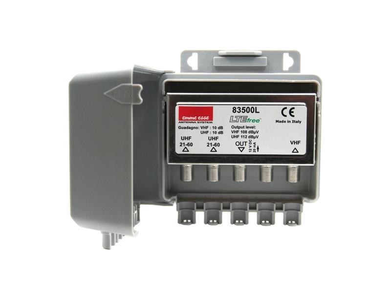 Anténní předzesilovač Emme Esse 83500L, na stožár, LTE, 1xDAB(VHF III) G10dB, 2xUHF G10dB