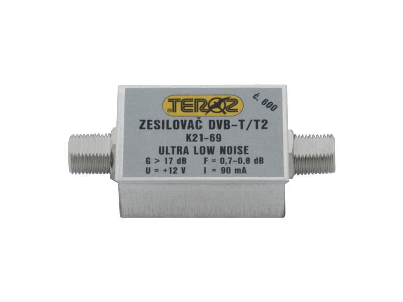 Anténní zesilovač Teroz 600X, nízkošumový, UHF, G17dB, F0,7dB, U|120dBµV, F-F