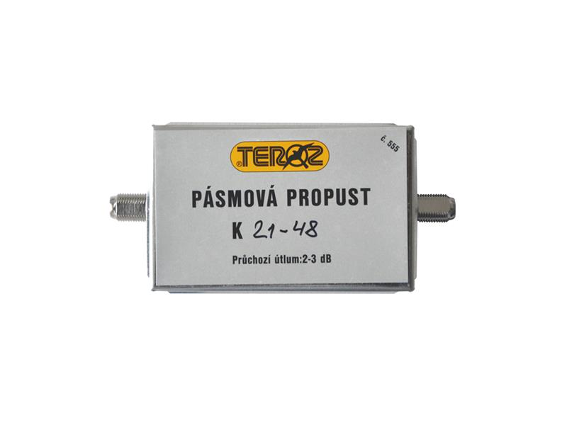 Anténní propust pásmová Teroz 555X, pro kanály k.21 až k.48 , filtr 5G, LTE, CDMA, UFON, F-F