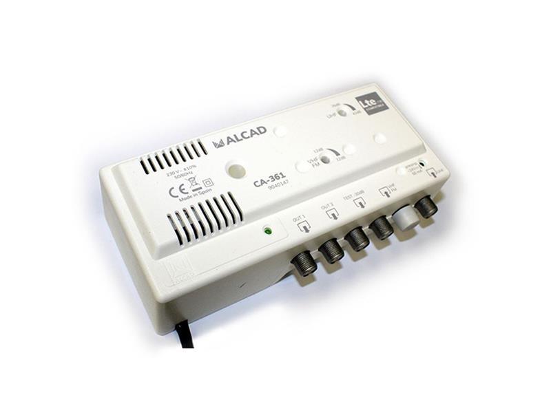 Anténní zesilovač ALCAD CA-361, 1xUHF+1xFM/VHF BIII, 2x výstup, filtr 5G, domovní