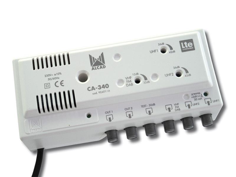 Anténní zesilovač ALCAD CA-340, 2xUHF+1xFM/VHF BIII, 2x výstup, filtr 5G, domovní