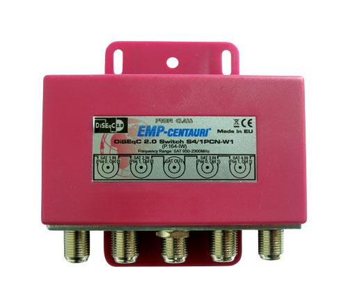 Satelitní relé (S4/1PCN-W1), přepínač DiseqC 1.0, 4xSAT IF/1xSAT IF, červený kryt, záruka 72 měsíců
