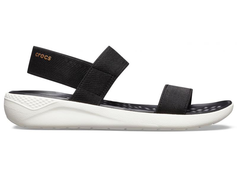 CROCS WOMEN'S LITERIDE SANDAL - Black/White W7 (37-38)
