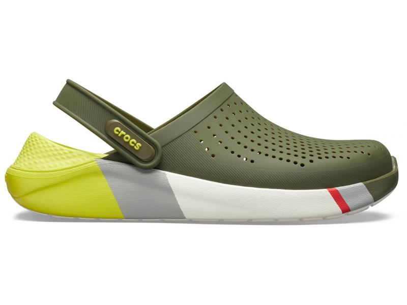 CROCS LITERIDE COLORBLOCK CLOG ARMY - Green/White M10/W12 (43-44)