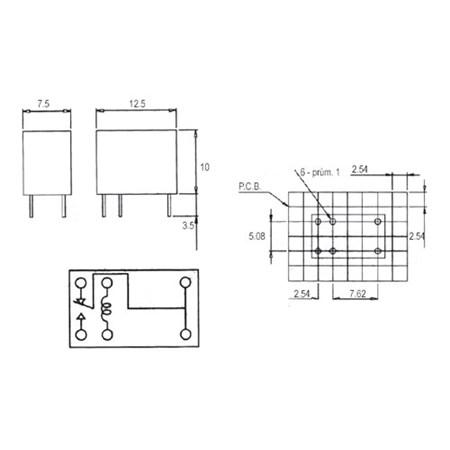 Relé 12V 0.5A/125VAC  1x přep.  SY-12-K