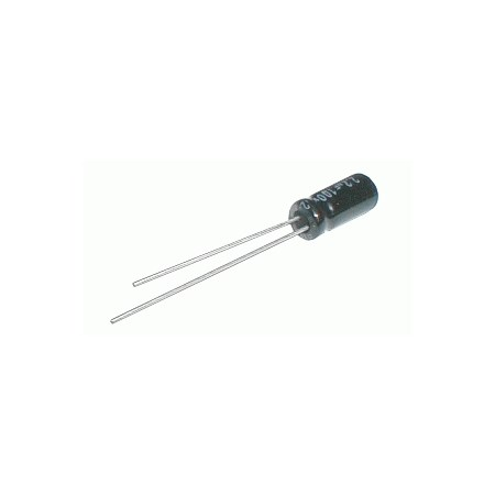 Kondenzátor elektrolytický 100M/25V 6x11-2.5  105° rad.