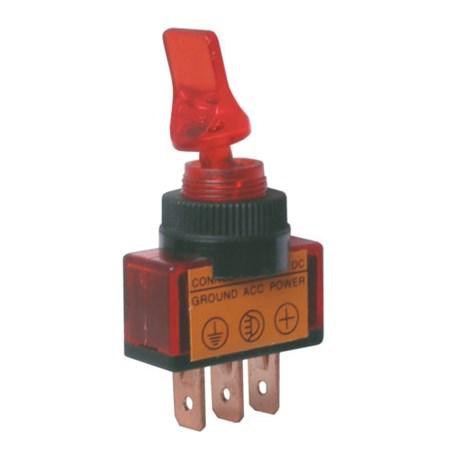 Přepínač páčkový   2pol./3pin  ON-OFF 12VDC prosv. červený