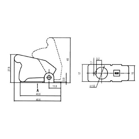 Přepínač páčkový  ochran.kryt - transp. bílá