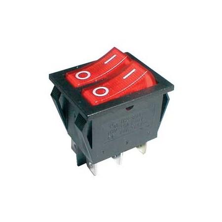 Přepínač kolébkový  2x(2pol./3pin) ON-OFF 250V/15A pros. červený