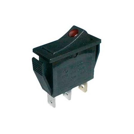 Přepínač kolébkový    2pol./3pin  ON-OFF 250V/15A prosv. bod R
