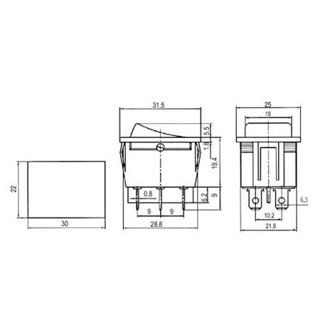 Přepínač kolébkový   2pol./6pin  ON-ON 250V/15A černý