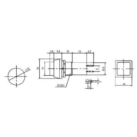 Přepínač tlačítko čtv. OFF-(ON) 250V/1A žluté