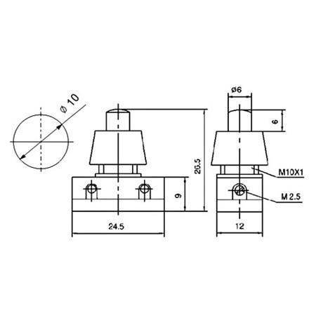 Přepínač tlačítko kul. typ-1 ON-OFF 250V/1A bílé