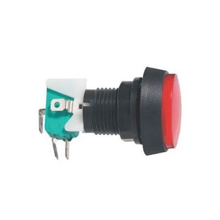 Přepínač tlačítko kul. ON-(ON) 250V/10A s mikrospínačem červené
