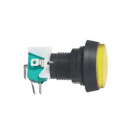 Přepínač tlačítko kul. ON-(ON) 250V/10A s mikrospínačem žluté