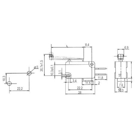 Mikrospínač ON-(ON) 10A s páčkou+v. L=25