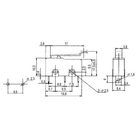 Mikrospínač ON-(ON)  5A s páčkou+z. L=17
