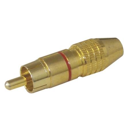 Konektor CINCH kabel kov zlatý  pr.6mm červený