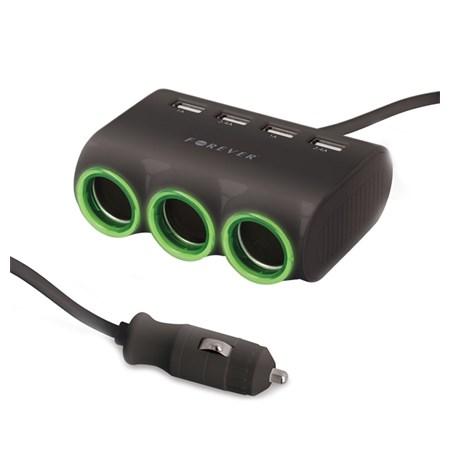 Autoadaptér 3x 12/24V, 4x USB FOREVER
