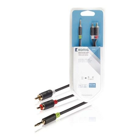 Kabel audio JACK 3.5 mm - 2x CINCH 0.5 m KÖNIG KNA22200E05