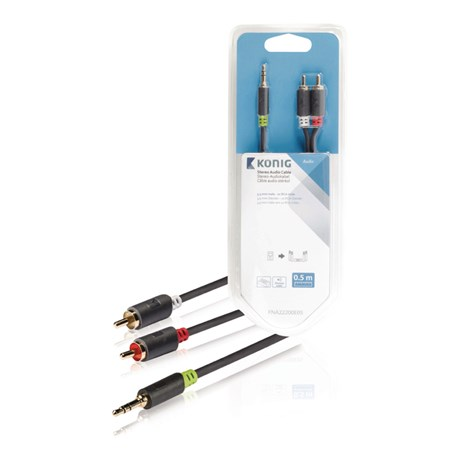 Kabel audio JACK 3.5 mm - 2x CINCH 1 m KÖNIG KNA22200E10