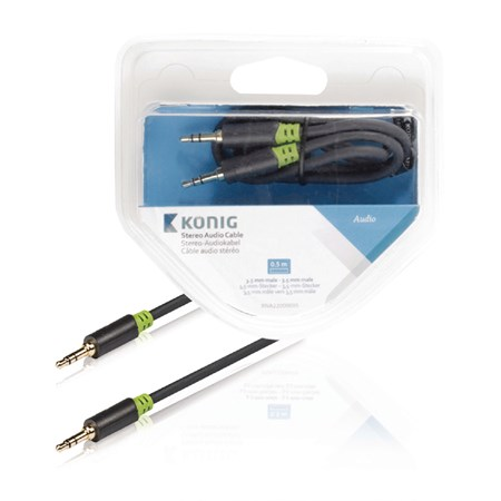 Kabel audio JACK 3.5 mm - JACK 3.5 mm 0.5 m KÖNIG KNA22000E05
