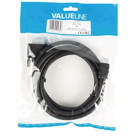 Kabel HDMI - DVI 24+1 pin 3 m VALUELINE VLCP34800B30