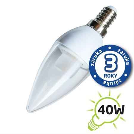 Žárovka LED C37 E14  5W bílá přírodní (Pc) čirá TIPA