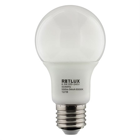 Žárovka LED A60 E27 6,5W RETLUX RLL 247 bílá studená