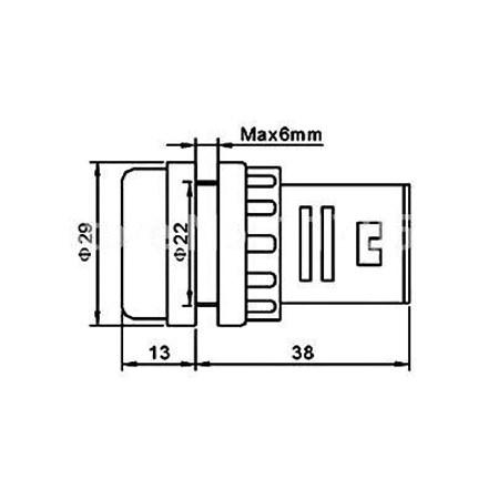 Kontrolka 230V LED 29mm, bílá