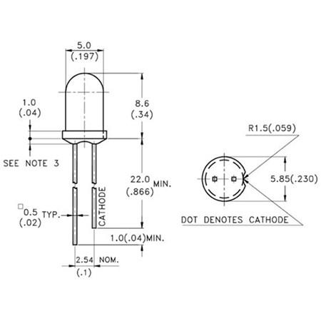 LED  5mm  modrá  difuzní  (470nm); svítivost 330-500 mcd; matná;