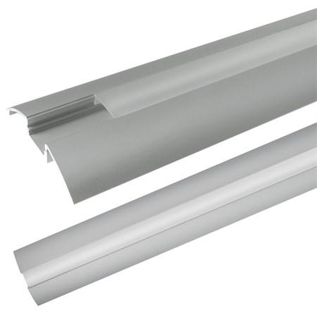 AL profil pro LED, AR6 + plexi k přisazení 52,4x8,6mm l=1m (zacvakávací/zasunovací)