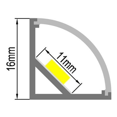 AL profil AC2 pro LED pásky, rohový, s vypouklým plexi, 2m