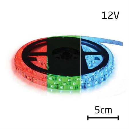 LED pásek 12V 5050  60LED/m IP65 max. 12W/m RGB (1ks=5cm) zalitý