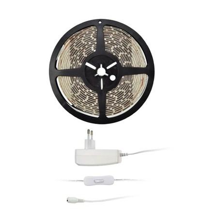 LED světelný pás s testrem, 5m, sada s 12V adaptérem, 4,8W/m, IP65, studená bílá