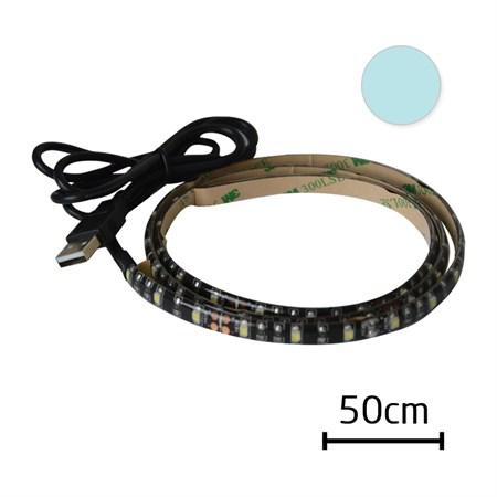 LED pásek s USB, 50 cm, bílá studená