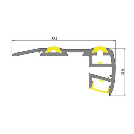 AL profil Stair pro LED pásky, s plexi, 1m