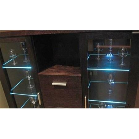 Klips LED na sklo modrá 5x 10 cm + adaptér