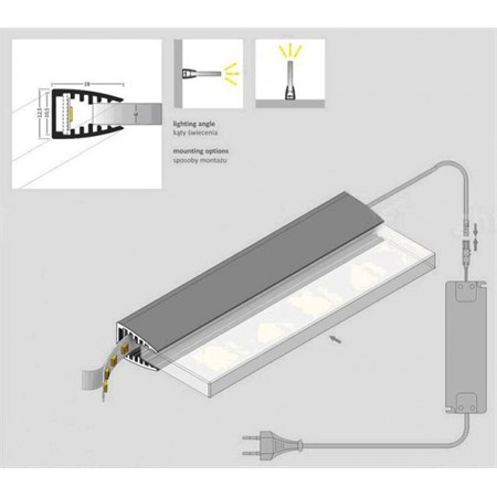 Klips LED na sklo studená bílá 1x 10 cm + adaptér