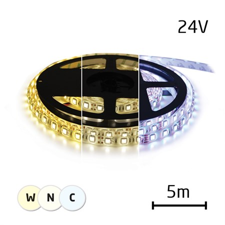 LED pásek 24V 3527  120LED/m IP20 max. 9,6W/m variabilní (W+N+C), (1ks=cívka 5m)