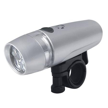 Svítilna na kolo přední - 5 LED 4xAAA stříbrná