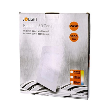 LED mini panel, podhledový, 24W, 1800lm, 4000K, tenký, čtvercový, bílé WD126 SOLIGHT