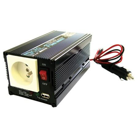 Měnič napětí 12V/230V  300W  CZ, USB
